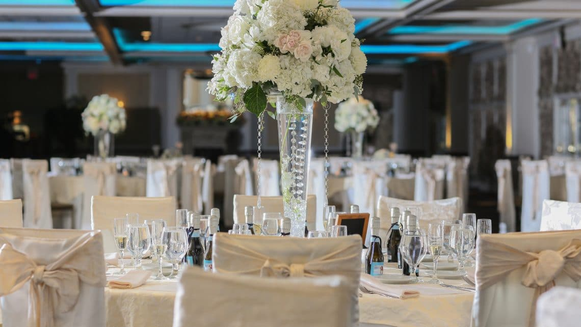 Tall White Centerpiece New Rochelle Greentree Country Club Wedding