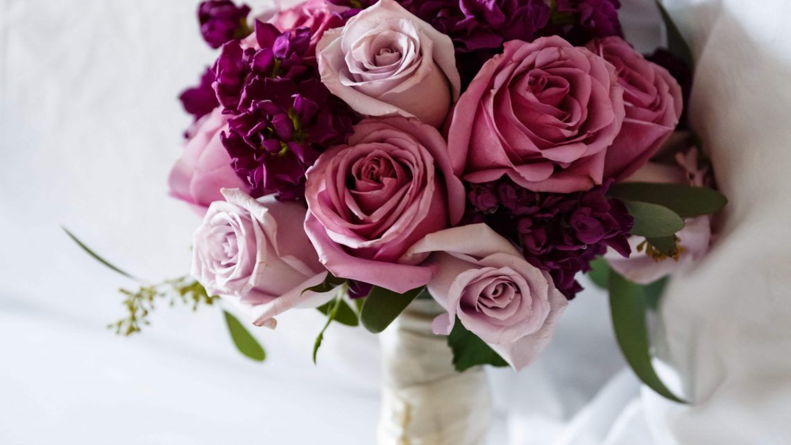 Purple Roses Bridal Bouquet