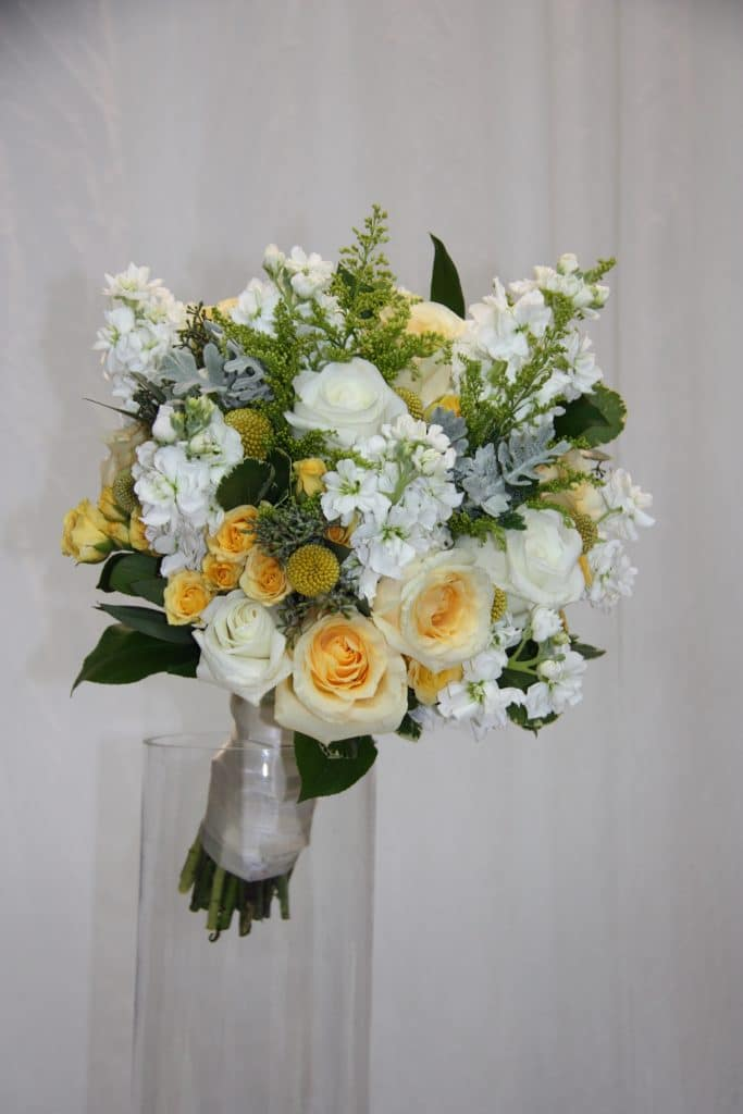 Bouquet White Yellow Stock Solidago Spray Roses Dusty Miller Roses Billy Balls Planner Coordinator Month Of Coordination Hudson Valley Florist
