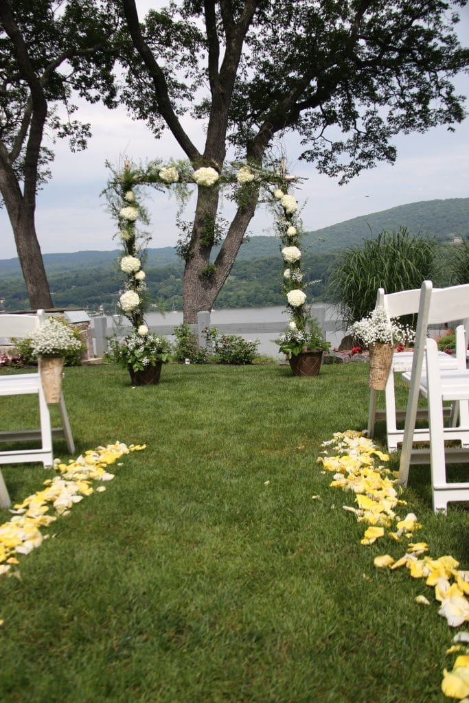 Ceremony Arch Birch Curly Willow Hudson Valley Outdoor Wedding Military Wedding White hydrangea Babysbreath Thayer Hotel
