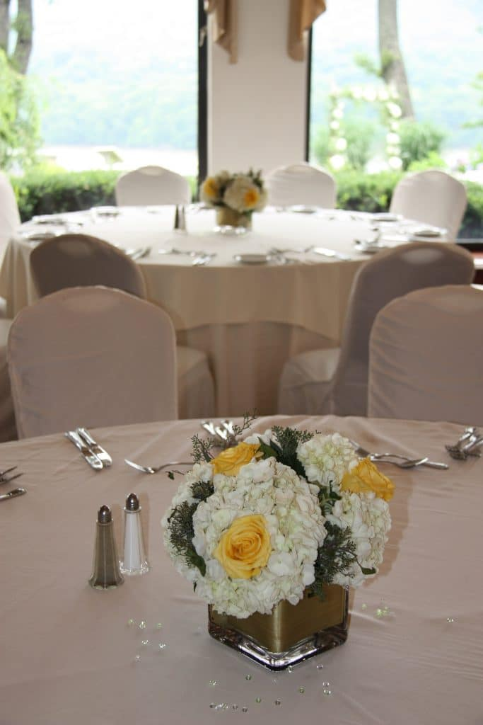 Centerpiece White Hydrangea Yellow Roses Month Of Coordination Wedding Planner Hudson Valley Reception Decor Florist