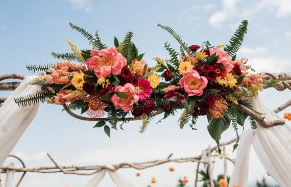 Mandap Floral Mango Leaves Indian Fusion Wedding